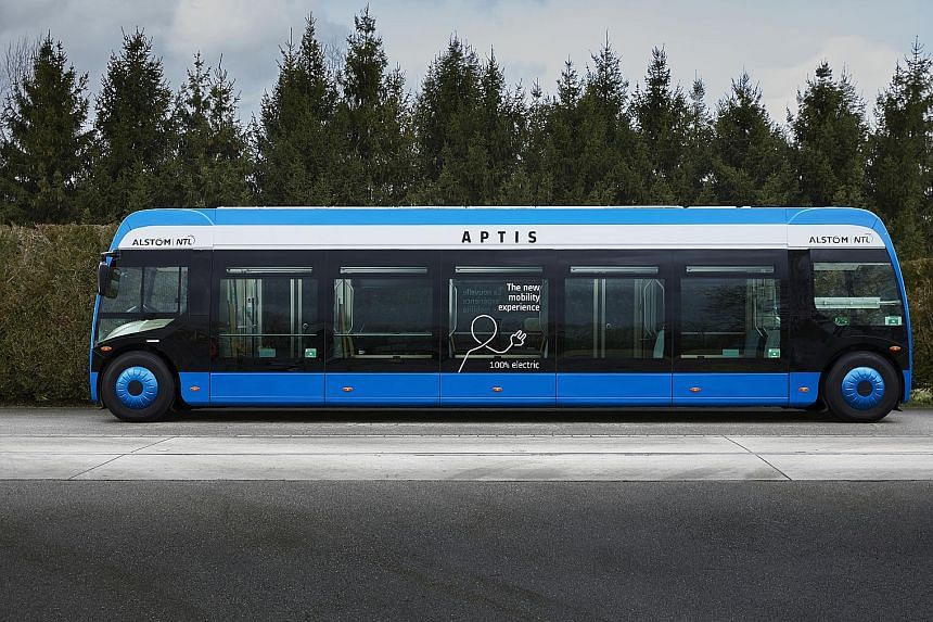 Alstom's recently launched Aptis electric bus. The battery-powered, low-floor vehicle may make its way to Singapore by 2019, as the firm looks to grow its business.