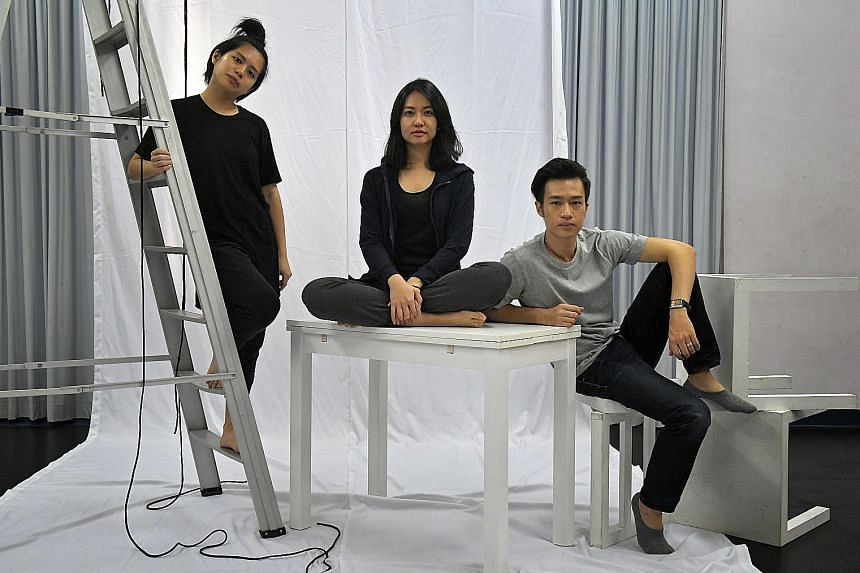 Theatre-makers (from left) Myra Loke, Ellison Yuyang Tan and Joshua Lim will each have their plays performed by the other two.