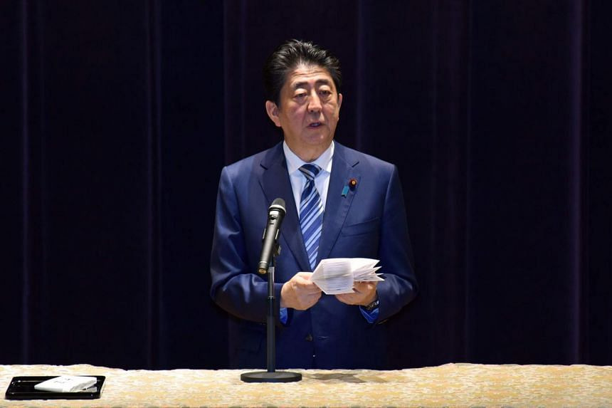 Japan's Prime Minister Shinzo Abe delivers a speech at a gathering of Self-Defence Force senior officers at the Defence Ministry in Tokyo, on Sept 11, 2017.
