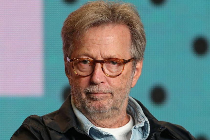 Eric Clapton attends a press conference to promote the film  Eric Clapton: Life in 12 Bars at the Toronto International Film Festival in Toronto, Canada, on Sept 11, 2017.