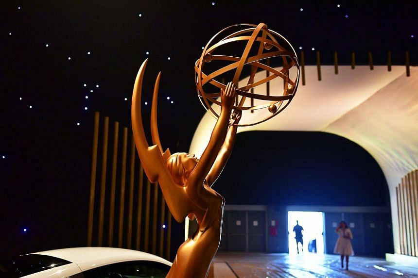 A statue of the Emmy Awards seen upon entry on display at the 2017 Emmy Awards Governors Ball press preview, in Los Angeles, California, ahead of the 69th annual Emmy Awards, on Sept 7, 2017.