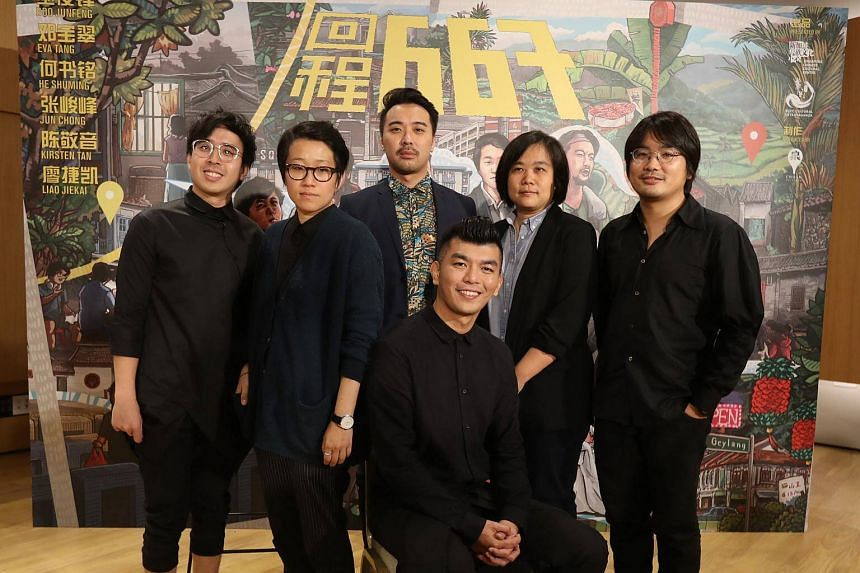 Film-maker Royston Tan (seated) with the cast and crew of the new anthology titled 667.