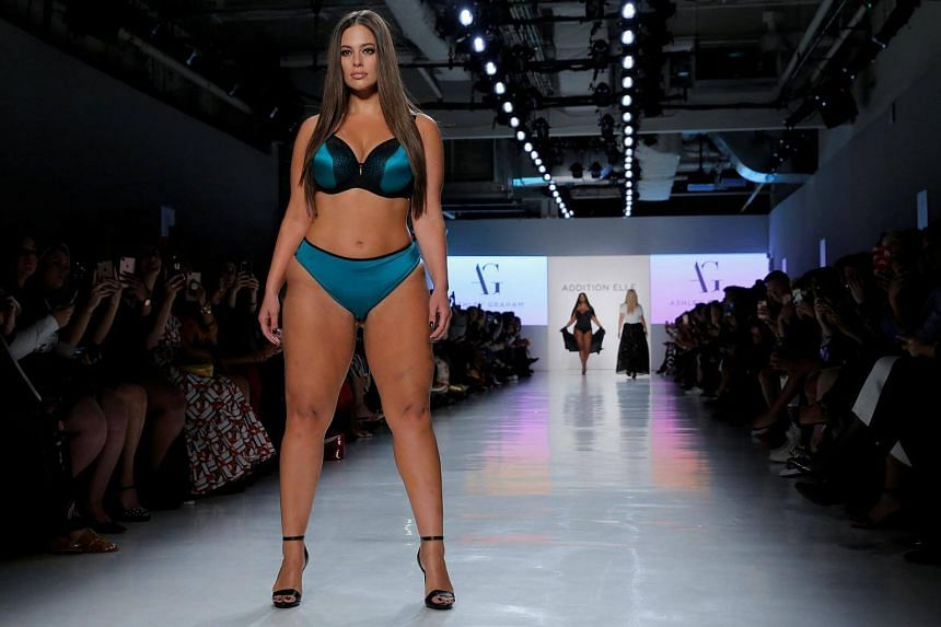 Model Ashley Graham walks the runway during the Addition Elle Spring/Summer 2018 presentation at New York Fashion Week in Manhattan, on Sept 11, 2017.