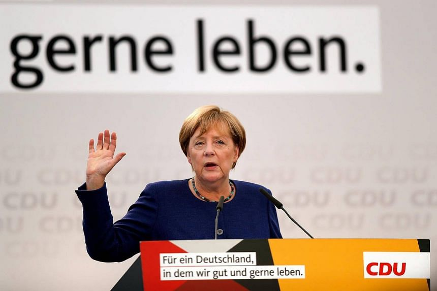 German Chancellor Angela Merkel speaks during an election campaign event of the Christian Democratic Union (CDU) party in Delbrueck-Steinhorst, Germany, on Sept 10, 2017.