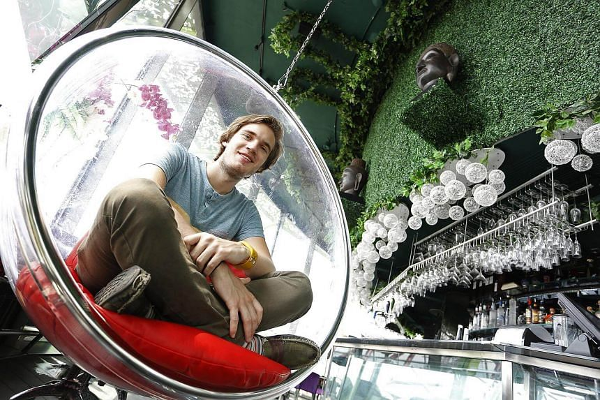 Swedish Youtube personality Felix Kjellberg, better known as PewDiePie, poses for a photograph in Indochine restaurant at the Gardens By The Bay on May 23, 2013.