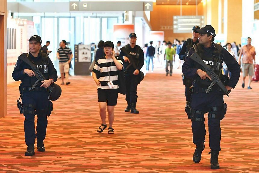 Security personnel patrolling at Marina Bay Sands Expo and Convention Centre on May 22, 2017.