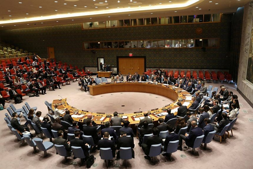 The United Nations Security Council sits to meet on North Korea after the latest missile test at the UN headquarters on Sept 4, 2017.