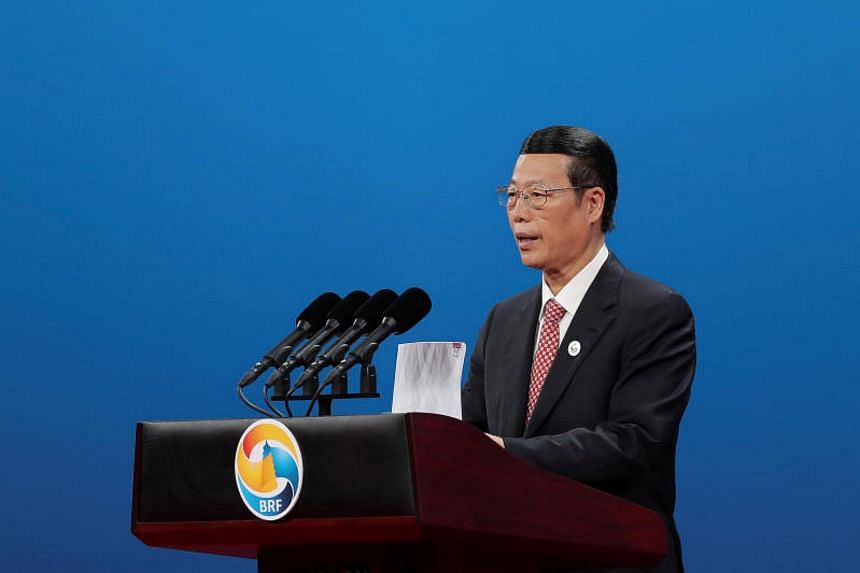 Chinese Vice Primier Zhang Gaoli speaks during the Belt and Road Forum for International Cooperation in Beijing, China May 14, 2017.