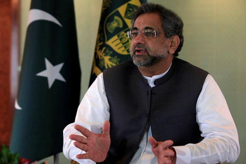 Pakistan's Prime Minister Shahid Khaqan Abbasi speaks with a Reuters correspondent during an interview at his office in Islamabad, Pakistan on Sept 11, 2017.