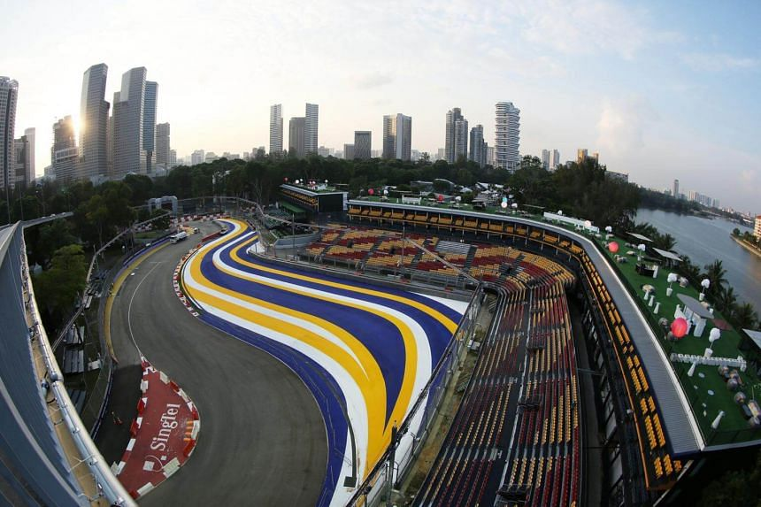 Setting up of the grandstands for the Formula One Singapore Grand Prix.