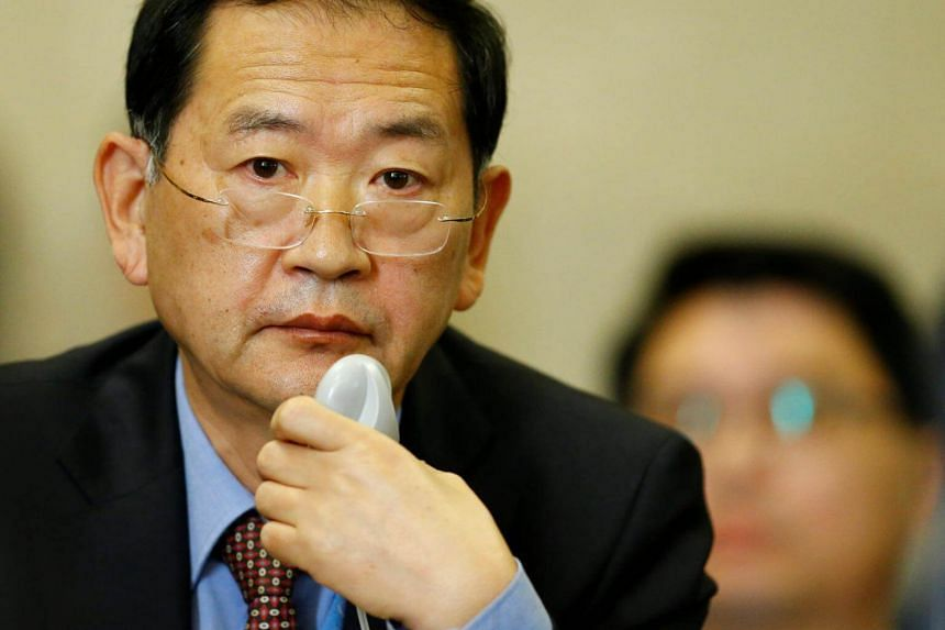 North Korea's ambassador to the United Nations Han Tae Song attends the Conference on Disarmament in Geneva, Switzerland, on Sept 5, 2017.