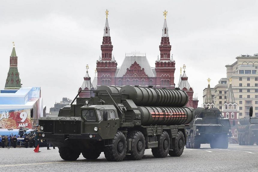 Russian S-400 Triumph medium-range and long-range surface-to-air missile systems riding through Red Square during the Victory Day military parade in Moscow in May 2017.