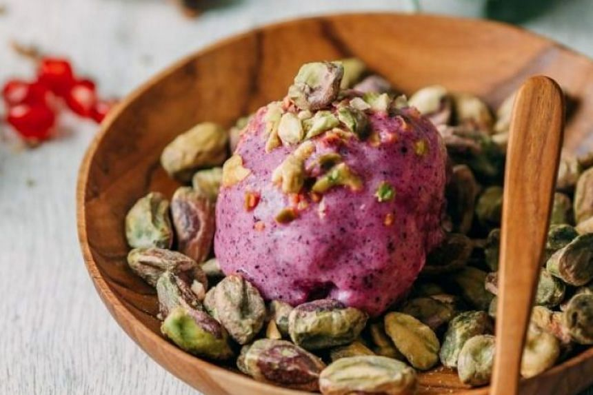 Fruits and natural ingredients are used to flavour the vegan ice cream at Kind Kones, which has no dairy or eggs, preservatives, emulsifiers or stabilisers.