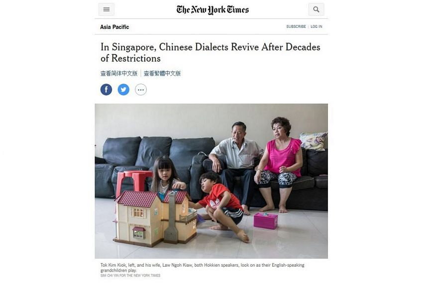 "The New York Times (NYT) article said that there has been a softening of Government policy towards the use of Chinese dialects after decades of what the paper described as ""linguistic repression""."