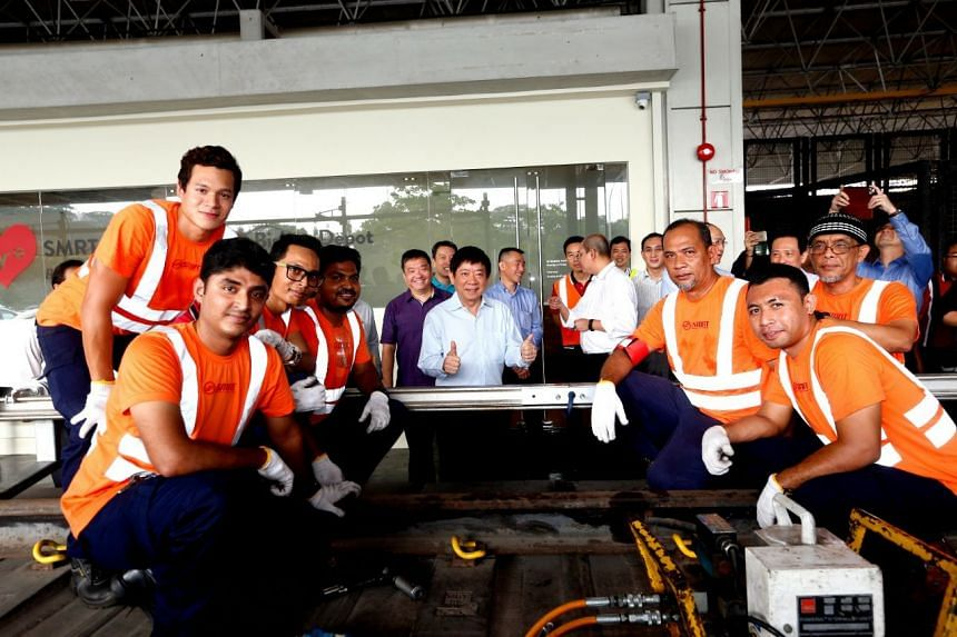Transport Minister Khaw Boon Wan at the Bishan Depot on Sept 12, 2017, to mark the completion of the replacement of the power-supplying third rail.