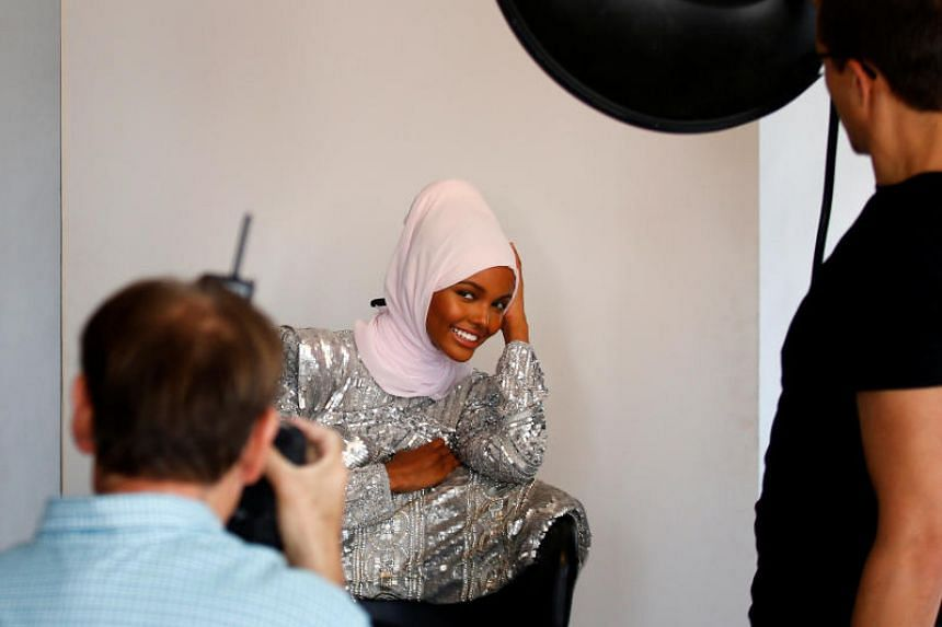 Halima Aden is photographed during a shoot at a studio in New York City on Aug 28, 2017