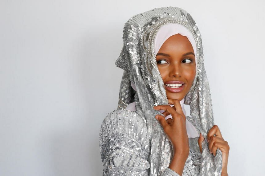 Halima Aden poses during a shoot at a studio in New York City on.Aug 28, 2017