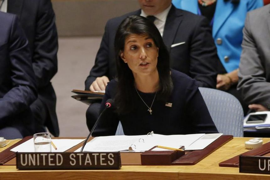 United States Ambassador to the United Nations Nikki Haley speaks during a UN Security Council emergency meeting on Sept 4, 2017.