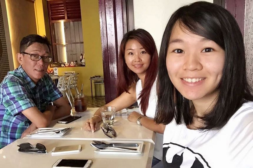 Carmen Mark (right), with her mother, Ms Ariess Tan, and father, Mr Mark Kok Wah. An only child, Carmen collapsed suddenly on July 3, 2015, while having lunch at Nanyang Polytechnic, where she was studying under a nursing scholarship from the Nationa