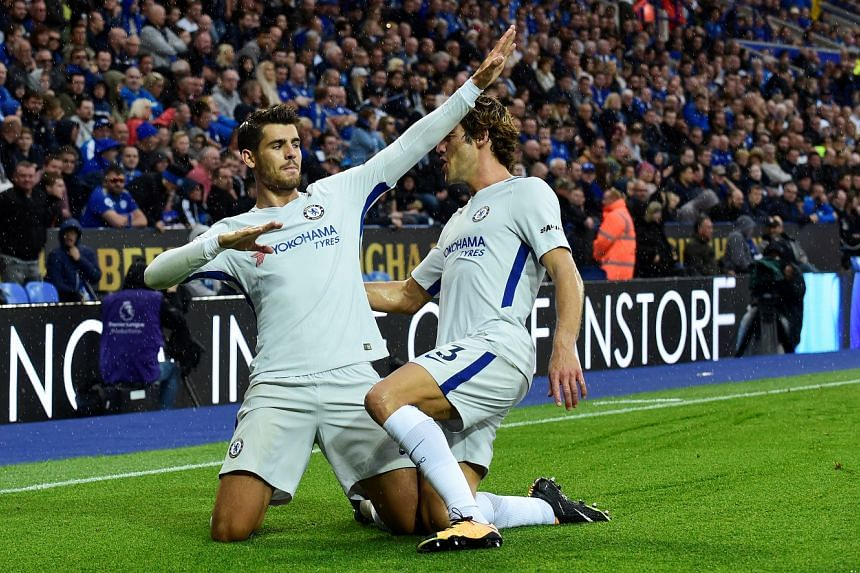Chelsea's Alvaro Morata (left) celebrating with Marcos Alonso after scoring the first goal against Leicester. The Blues' new signing has scored three goals and provided two assists so far in four Premier League games and manager Antonio Conte wil