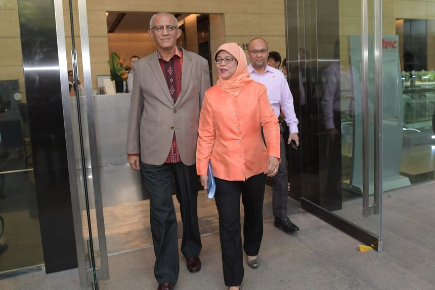 Madam Halimah Yacob and her husband Mohamed Abdullah Alhabshee leaving One Marina Boulevard for the nomination centre on Sept 13, 2017.