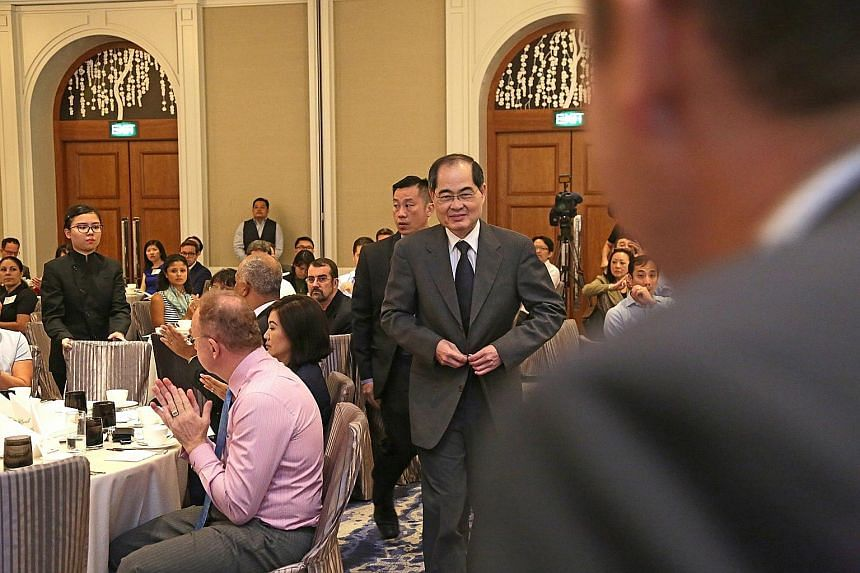 Mr Lim at the Four Seasons Singapore hotel yesterday for the launch of poll results from the 2018 Asean Business Outlook Survey.