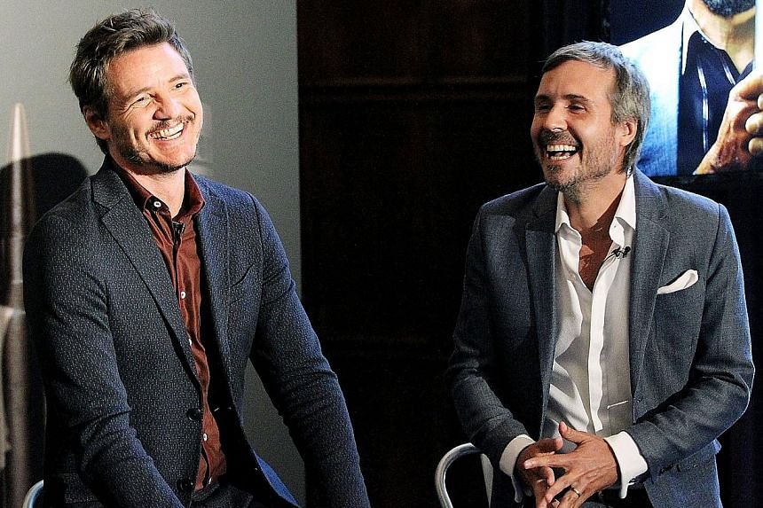 Actor Pedro Pascal (far left, with Narcos director Andi Baiz) hopes the success of the crime drama heralds a new phase in the globalisation of Latino and Hispanic culture.