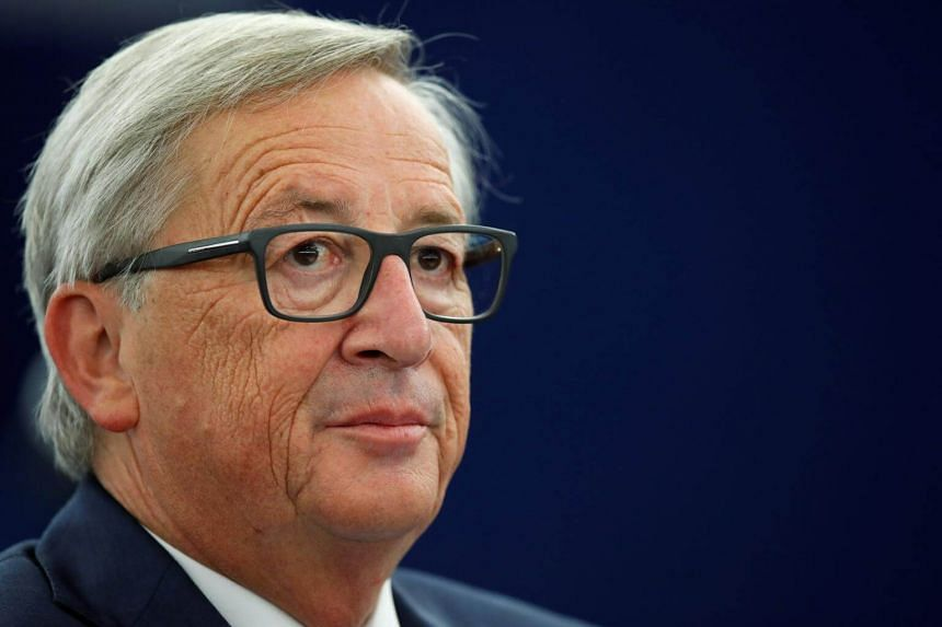 European Commission President Jean-Claude Juncker looks on before addressing the European Parliament during a debate on The State of the European Union in Strasbourg, France on Sept 13, 2017.