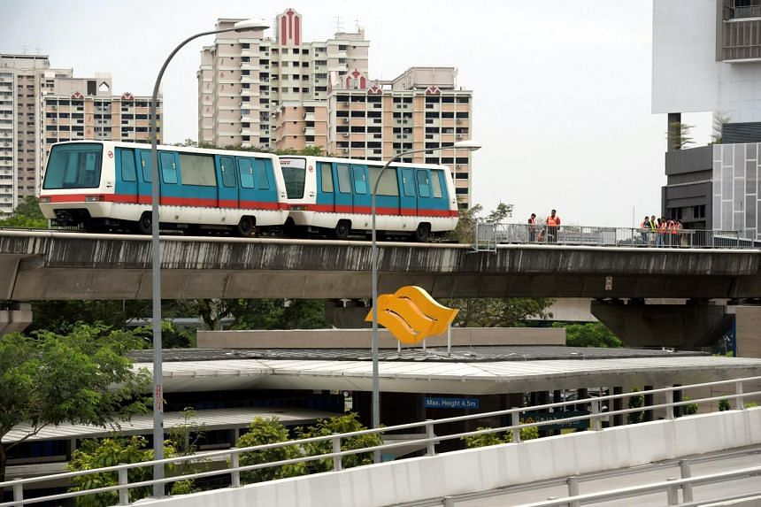 Repair work being carried out on the Bukit Panjang LRT tracks. The LRT service in Bukit Panjang stalled for more than six hours on  Sept 9, 2017.