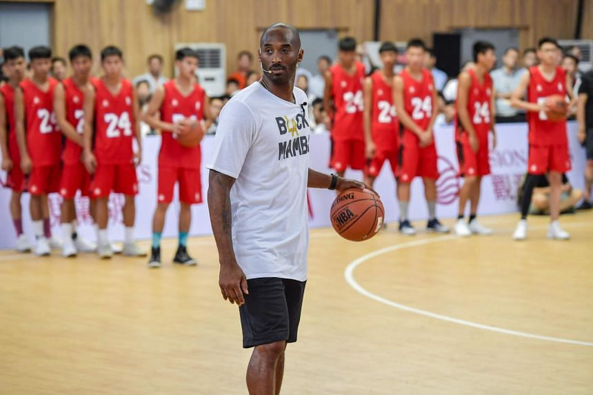Former NBA basketball player Kobe Bryant attending a basketball teaching activity in Haikou in China's southern Hainan province, on Sept 12, 2017.