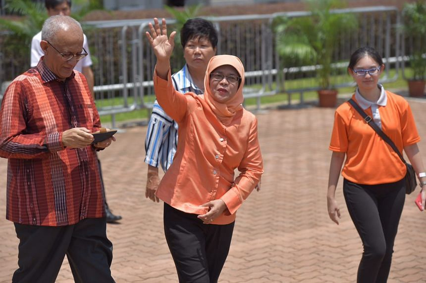 Singapore's president-elect Madam Halimah Yacob greeting supporters at the People's Association HQ.