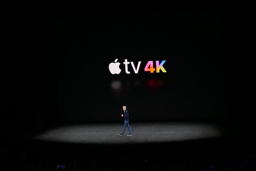 Apple CEO Tim Cook announcing the Apple TV 4K.