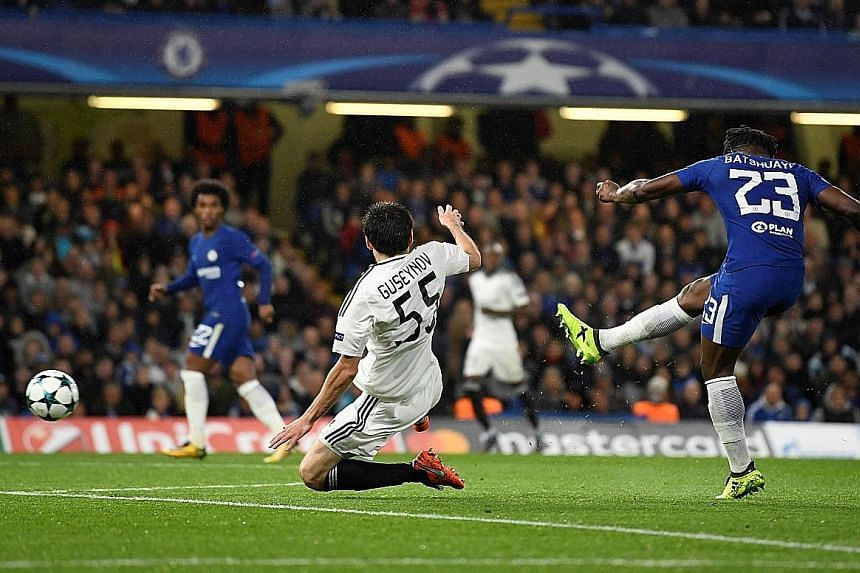 Chelsea striker Michy Batshuayi scoring their fifth goal during their 6-0 Champions League rout of Qarabag. Blues manager Antonio Conte was pleased that his second-string players got playing time and delivered the win.