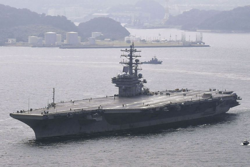 The USS Ronald Reagan pulling out of Yokosuka naval base for a routine patrol of the Western Pacific, on Sept 8, 2017.