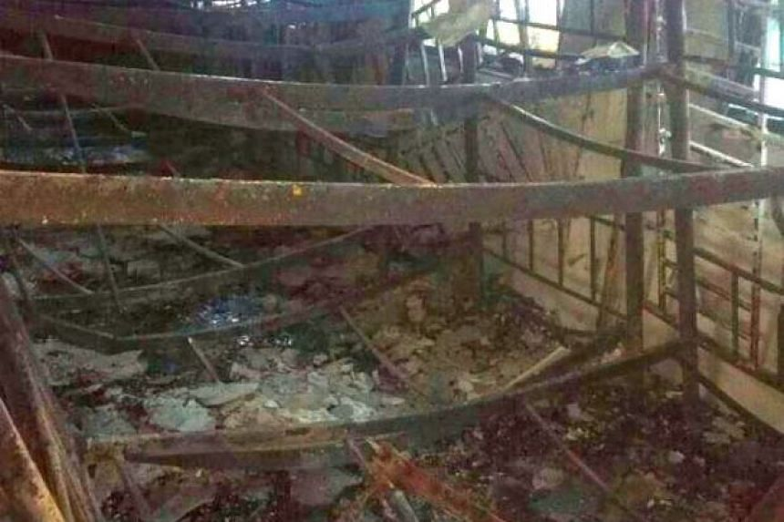 The remains of a room in the religious school after the fire.