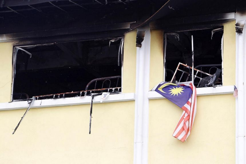A view shows the second floor of religious school Darul Quran Ittifaqiyah after a fire broke out in Kuala Lumpur, on Sept 14, 2017.