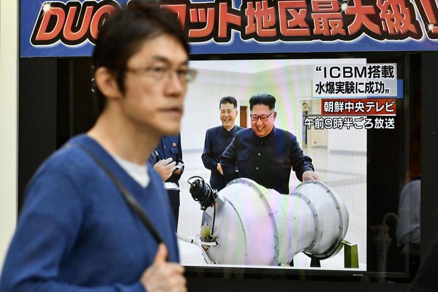 A TV screen displaying North Korean leader Kim Jong Un, in Tokyo, Japan, on Sept 3, 2017.