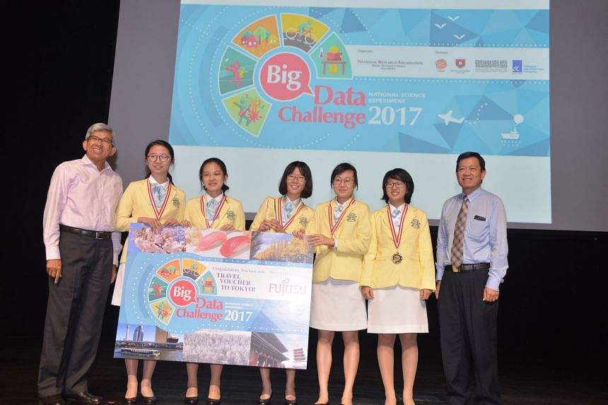 Minister for Communications and Information Yaacob Ibrahim and chief architect and head of Fujitsu Singapore's Internet of Things solution centre Cheng Jang Thye with the winning team in the secondary school category from Nanyang Girls' High School -