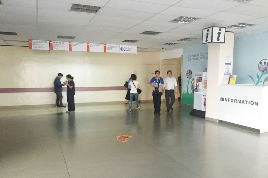 The lobby on the first floor - the area most affected by the power outage - of the National University Hospital's main building. As a safety measure, ambulances were diverted to other hospitals while patients in the affected area were directed to oth