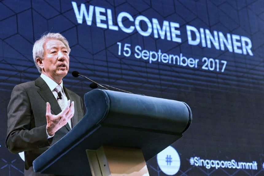 DPM Teo Chee Hean speaks during the welcome dinner on the Day 1 of Singapore Summit at Shangri-La Hotel, on Sept 15, 2017.
