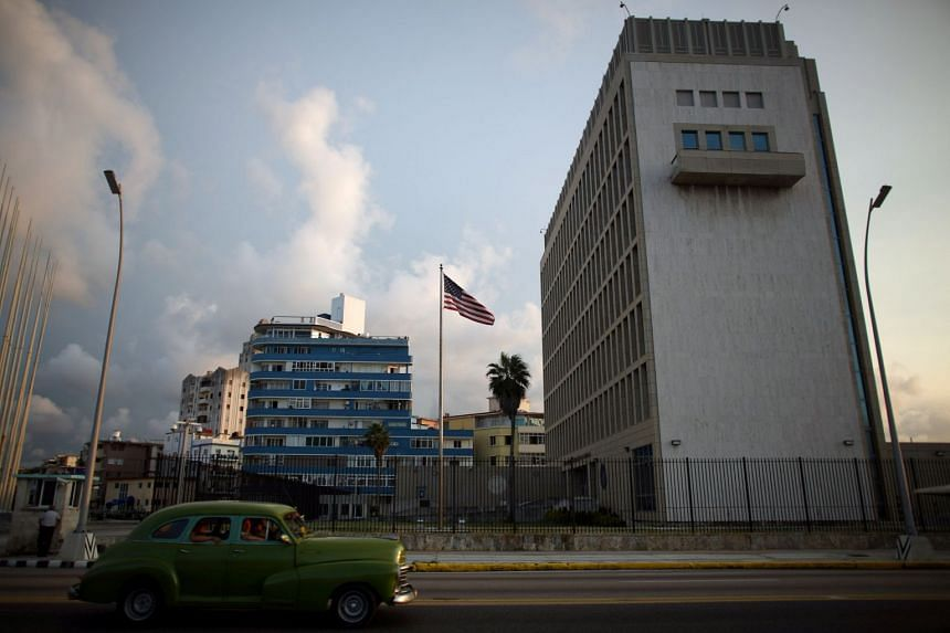"""The US embassy in Havana. The US State Department says 16 Americans were affected in the """"incidents."""""""