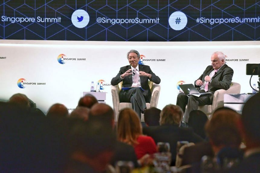 DPM Teo Chee Hean speaks at a dialogue session during the opening day of the Singapore Summit, on Sept 15, 2017.