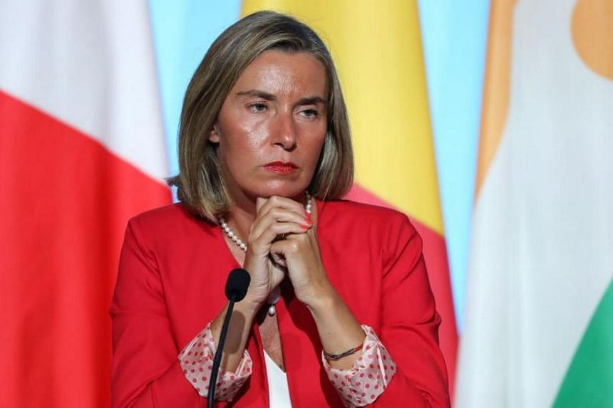 Federica Mogherini attends a meeting with EU and African leaders to discuss how to ease the European Union's migrant crisis, at the Elysee Palace in Paris, on Aug 28, 2017.