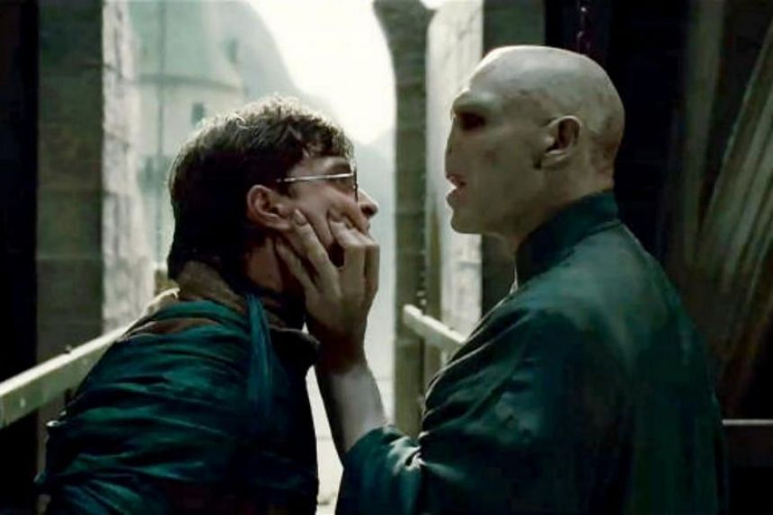A scene from the film Harry Potter And The Deathly Hallows Part 2, starring Daniel Radcliffe and Ralph Fiennes, who plays Lord Voldemort. The 35-year-old man has been arrested for attempted extortion.
