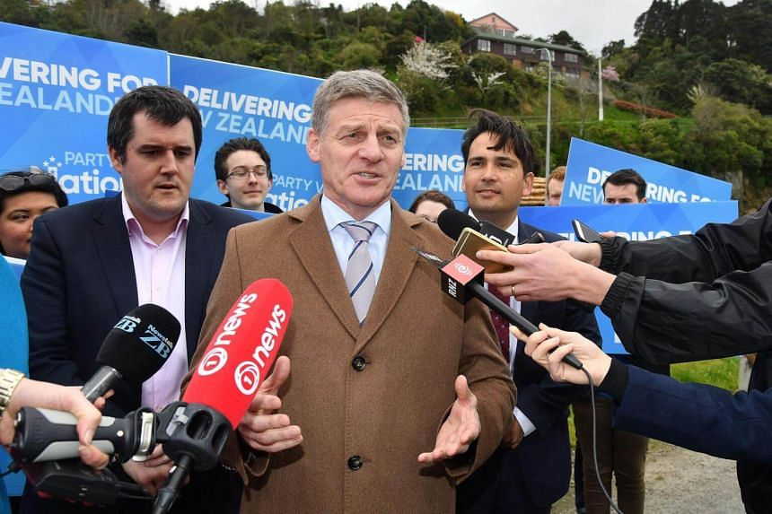 New Zealand Prime Minister Bill English speaks to the media during a National Party campaign in Wellington on Sept 15, 2017.