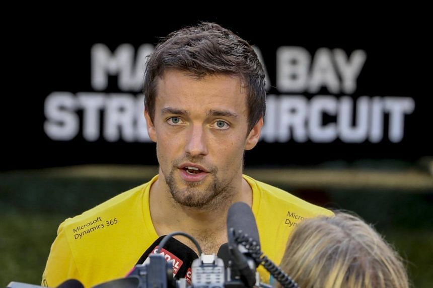 British Formula One driver Jolyon Palmer of Renault talks to reporters ahead of the Singapore Formula One Grand Prix at the Marina Bay Street Circuit in Singapore, on Sept 14, 2017.