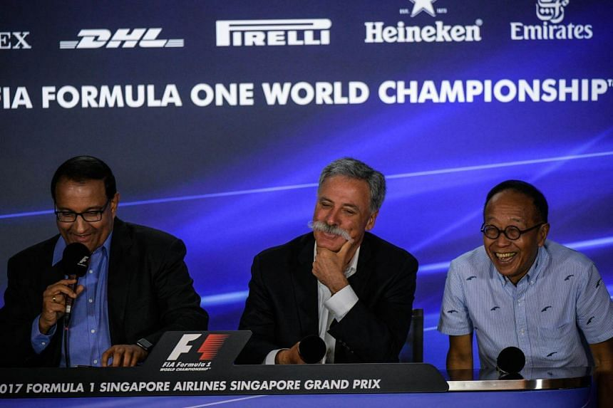 (From left) Minister for Trade and Industry S Iswaran, Formula 1 CEO Chase Carey and Ong Beng Seng of Singapore GP Pte Ltd holding a Singapore Grand Prix press conference on Sept 15, 2017.