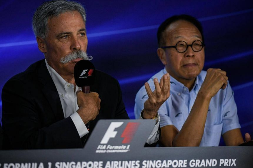Formula 1 CEO Chase Carey (left) and Ong Beng Seng of Singapore GP Pte Ltd at a Singapore Grand Prix press conference on Sept 15, 2017.