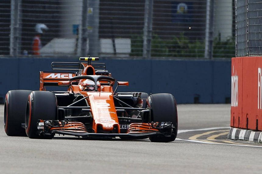 Belgian Formula One driver Stoffel Vandoorne of McLaren-Honda in action during the first practice session of the Singapore Formula One Grand Prix at Marina Bay Street Circuit in Singapore, on Sept 15, 2017.