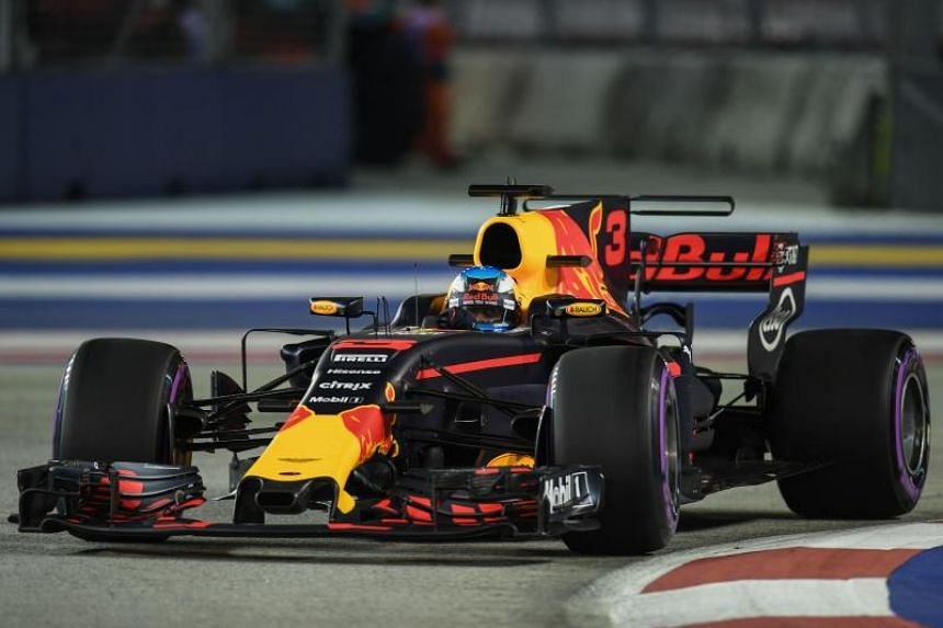 Red Bull's Daniel Ricciardo in action during the second practice session of the Singapore Grand Prix.